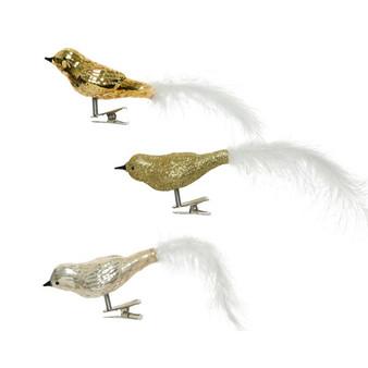 Glass Birds On Clip - Gold
