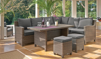 Kettler Palma Corner Set with Polywood Top Table - White Wash Left Hand Orientation