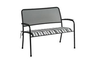 Alexander Rose Portofino Bench with Charcoal Stripe Cushion