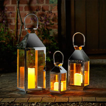 Stockholm Stainless Steel Lantern - Set of 3