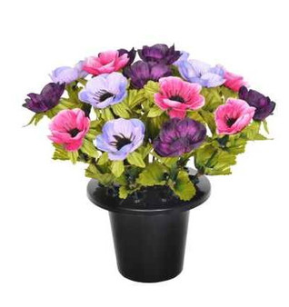 25CM PURPLE ANEMONE X 16 GRAVE POT