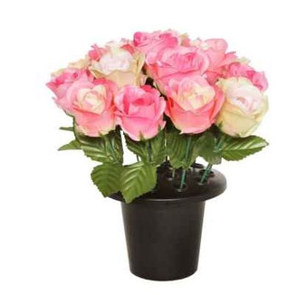 25CM PINK OPEN ROSE X 16 GRAVE POT