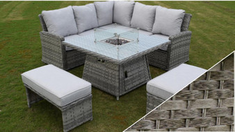 Hillmount Amalfi Casual Dining Fire Pit Set Dark Grey