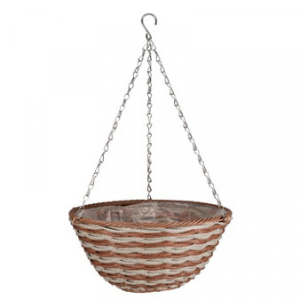 14in Duet Faux Rattan Hanging Basket