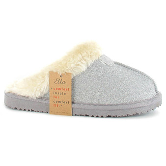 Ladies Memory Foam Comfort Slipper- Jill- Glitter Silver