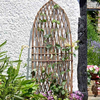 Wooden trellis with aluminium rivets Decorative wooden trellis for supporting climbing plants Sturdy timber construction Easy to fit by hanging with screws or nails