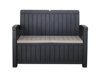 2 Seater Storage Bench: H90cm D66cm W124cm
