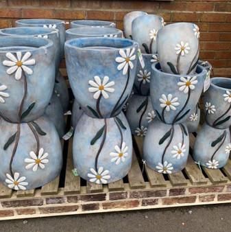 Daisy Pot- Blue- Woodlodge