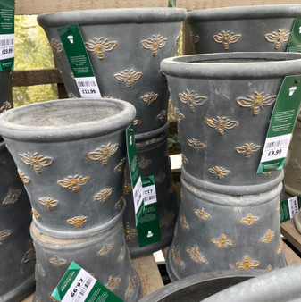 Bee Fibre Clay Pot  (BLACK AND GOLD BEES)