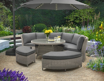 Palma Round Casual Dining Set  in White Wash Wicker pictured with 3m Overhang Parasol