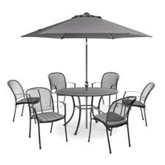 Kettler Caredo 6 Seat Set with Cushions, Parasol & Base DUE EARLY SUMMER