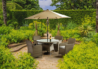 Please note the parasol and base shown in the images are not included in the set price. These items are sold separately.