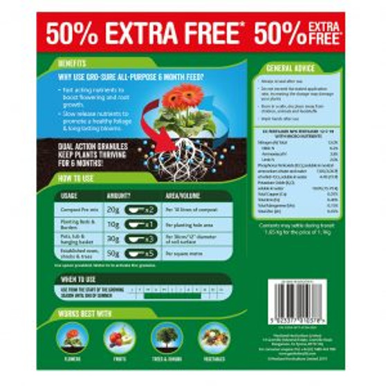 Gro-Sure All Purpose 6 Month Feed Granules - 1.1Kg + 50% Extra Free