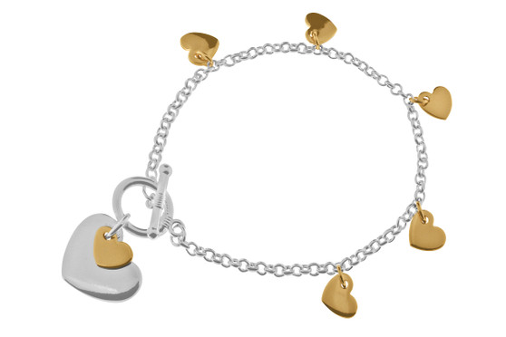 Silver Chain and RG Multi Heart bracelet