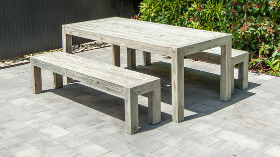 Acacia Dining Set with Benches