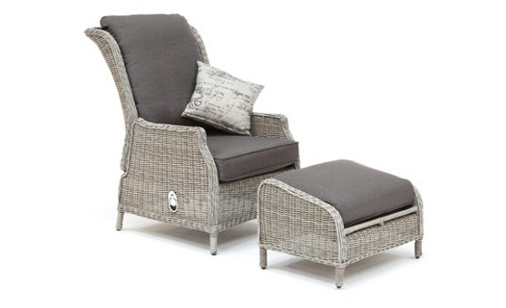 Kettler Classic Recliner with footstool (White Wash) 0304231-5510