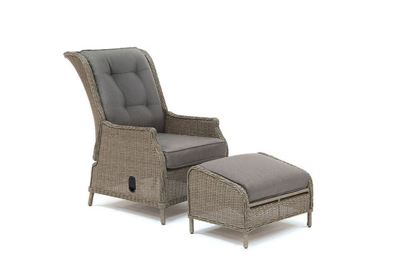 Kettler Classic Recliner with Footstool - Rattan