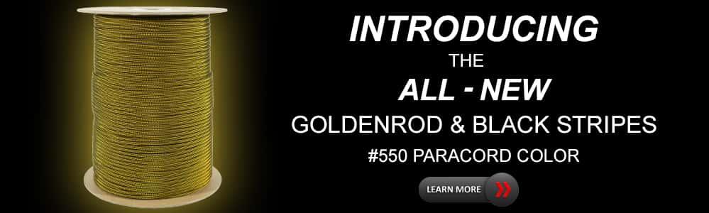 #550 Cord Goldenrod & Black Stripes Paracord