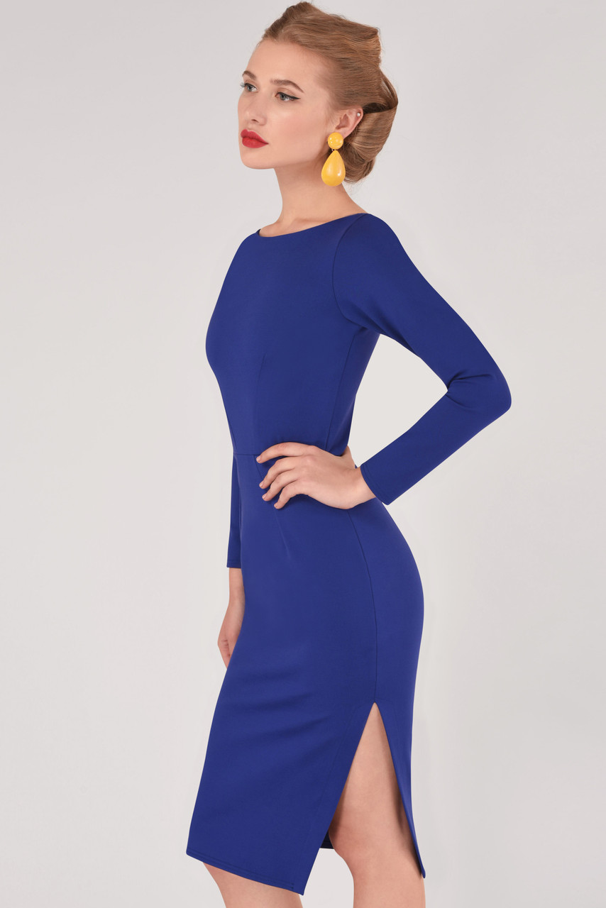 178a7f76c7cb Blue Long Sleeve Bodycon Dress