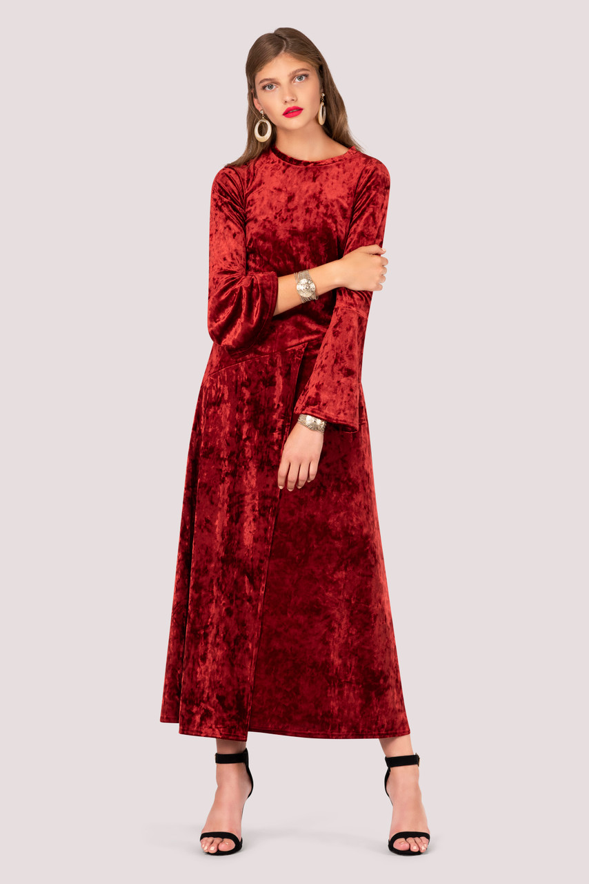 Crushed Velvet Rust Asymmetric A Line Dress