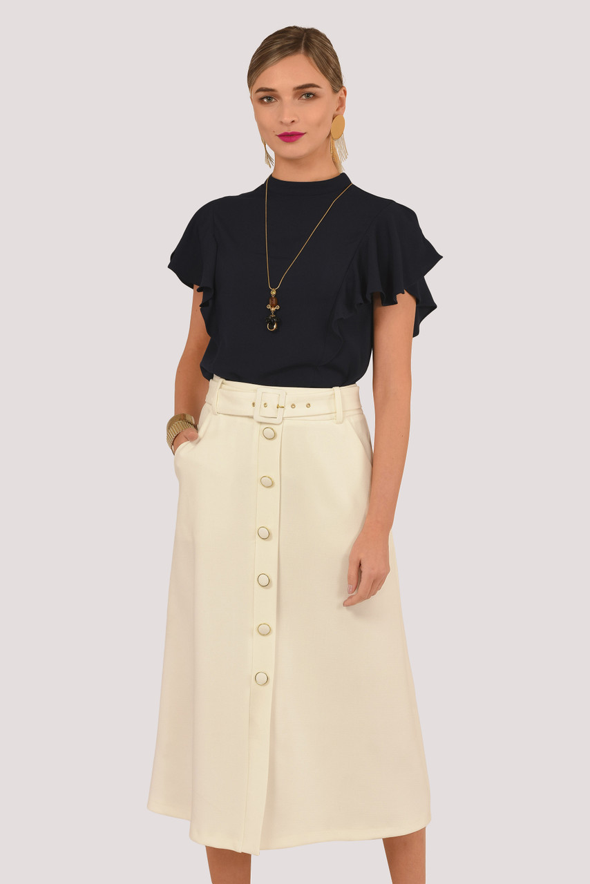 enjoy lowest price great variety models sports shoes Ivory A-Line Belted Midi Skirt with Buttons