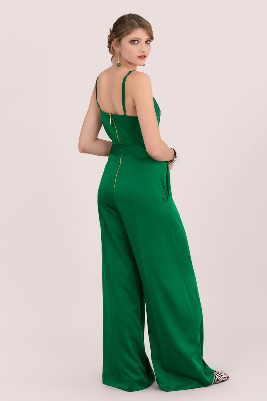 Emerald Green Wide Leg Jumpsuit With Self Tie Belt