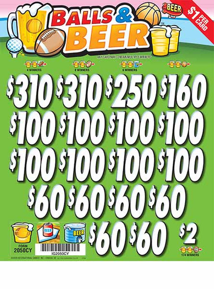 Balls and Beer 3W $1 6@$150 (2@$310) $2B 20% 3185