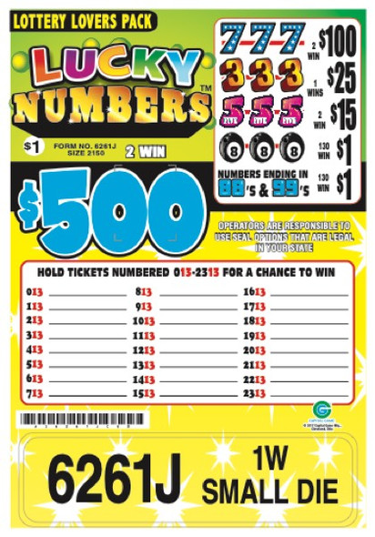 Lucky Numbers Seal 5W $1 2@$500 $1B 30% 2150