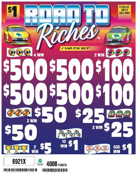 Road to Riches 5W $1 4@$500 $1B 25% 4000