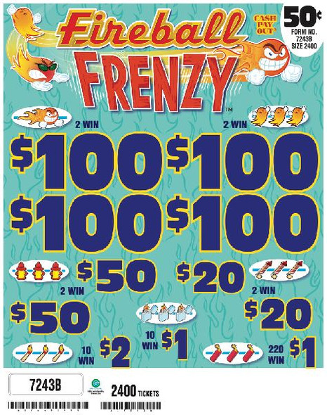 Fireball Frenzy 5W $0.50 4@$100 $1B 34% 2400