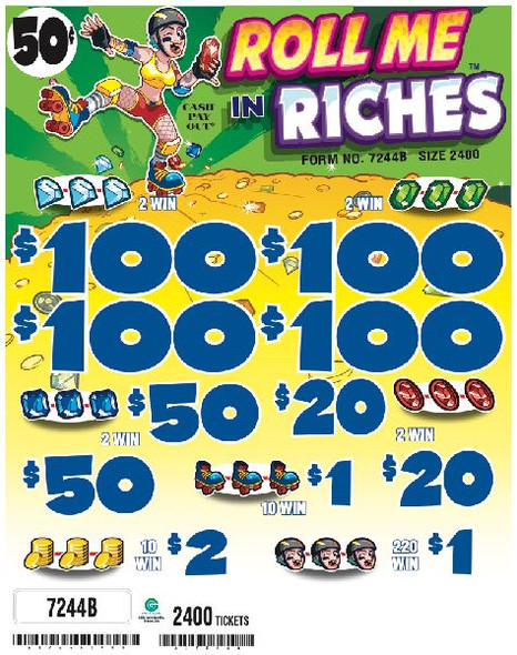 Roll Me In Riches 5W $0.50 4@$100 $1B 34% 2400