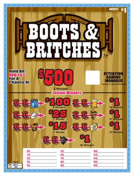 Boots and Britches Seal 5W $1 3@$500 $1B 30% 3000