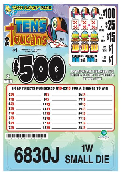 Tens and Toucans Seal 5W $1 2@$500 $1B 30% 2150