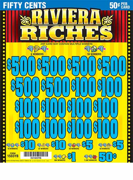 Riviera Riches 5W $0.50 6@$500 $0.50B 25% 24080