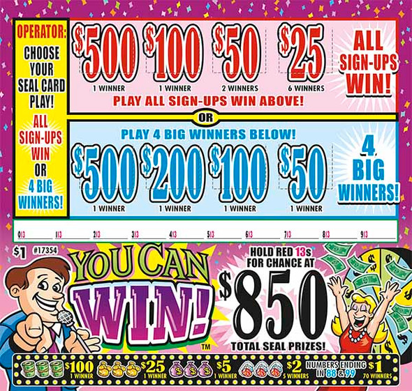 You Can Win Seal 5W $1 1@$500 $1B 28% 1485 All Holders Win