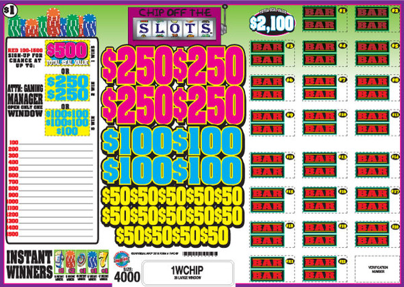 Chip Off the Slots Seal PK 1W $1 1@$500 $1B 27% 4000