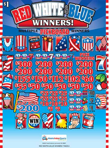 Red White and Blue Winners PK 3W $1 8@$200 (1@$300) $1B 19% 4480 LS