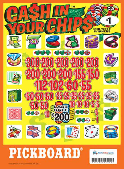 Cash In Your Chips PK 3W $1 8@$200 (1@$300) $1B 19% 4480 LS