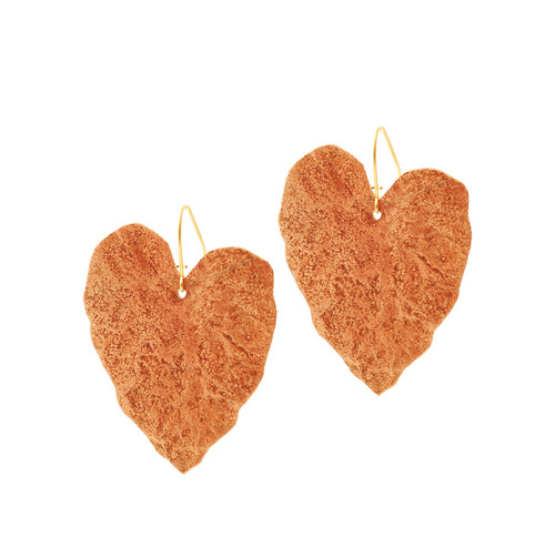 JessicaFoundIt  upcycled copper heart shaped earrings