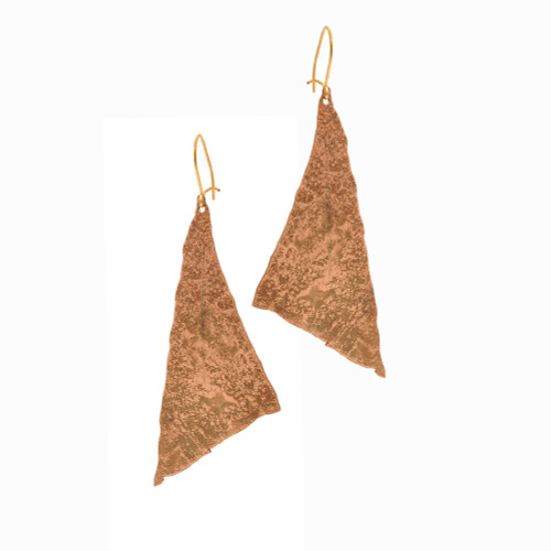 JessicaFoundIt  upcycled copper scalene triangle shaped earrings