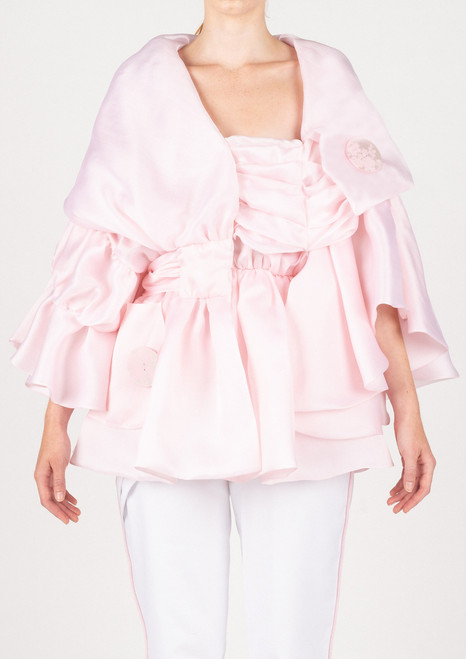 'MenVi' Cloud Pink Silk Organza Jacket