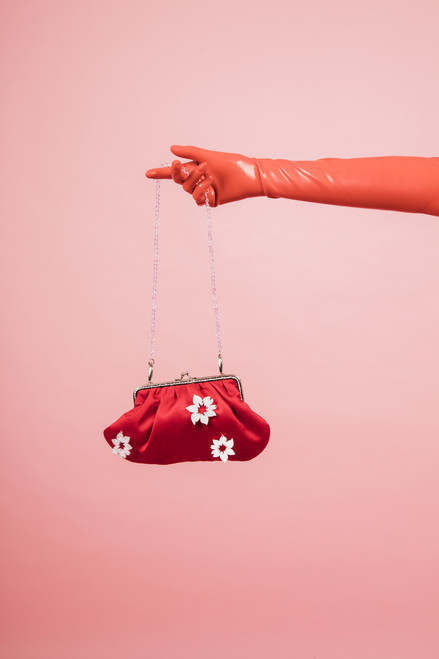 'MenVi' Daisy Small Red Shoulder Purse Bag