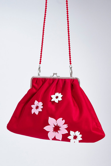 'MenVi' Daisy Big Red Cross-Body Purse Bag
