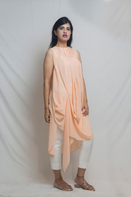 Aarah Peach Georgette Tunic