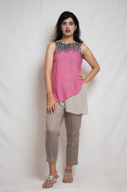 Aarah Sequined Pink/Grey Georgette Tunic