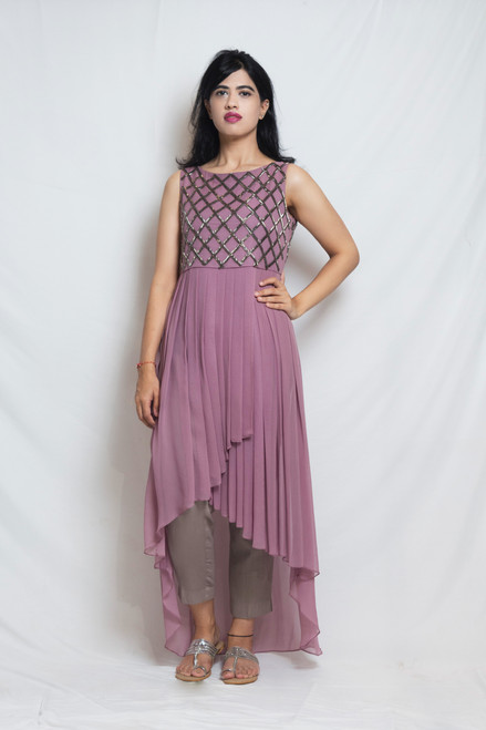 'Aarah' Wisteria Embroidered Burnt Purple Tunic