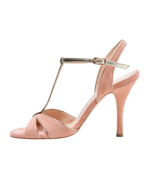 Elegant butterfly open toe model made of soft peach colored suede leather and gold ankle strap.  With extra soft sole.  Handmade in Greece.  Available in three different heel hights 6cm, 8cm, 9cm.  **Made to order. Time to manufacture 15 days.