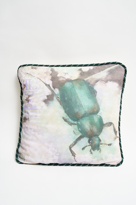 """It's in the Bug"" Upcycled Kapoc Pillow for the Environmental Law Foundation"