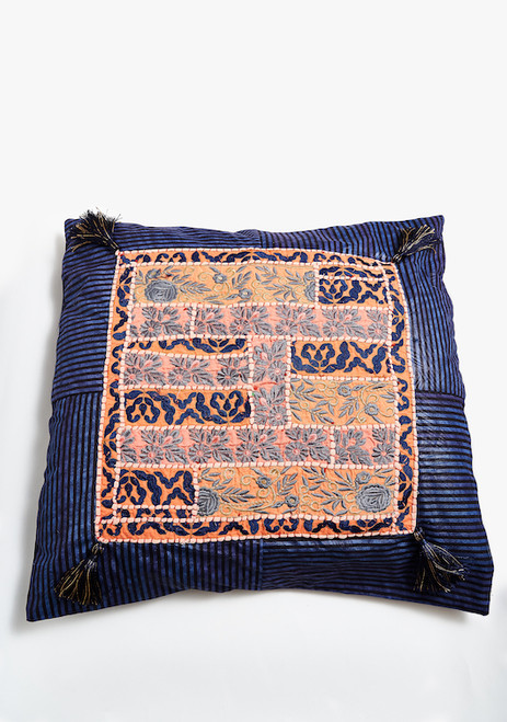 Upcycled embellished large Kapoc pillow