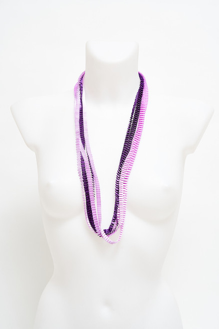 Pleated lilac and lavender necklace